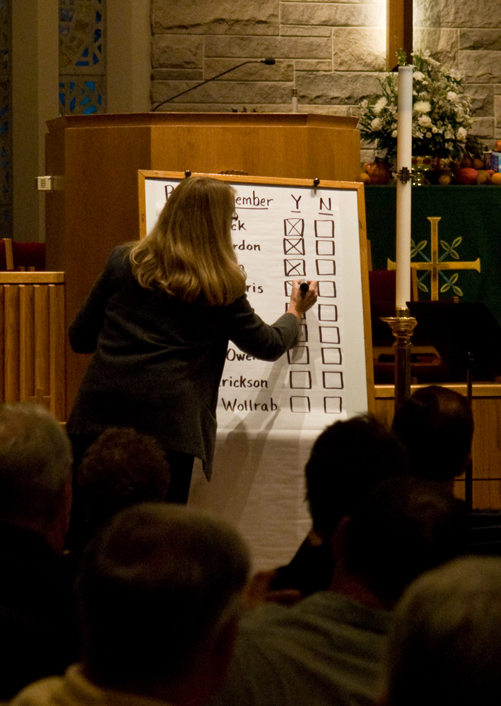 Positions on a fracking ban, held by McLean County board members, were tallied on a huge chart.