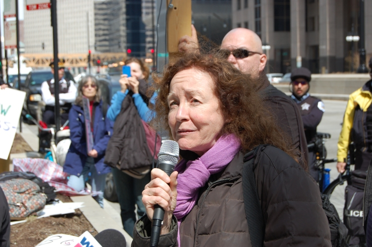 Kathy Kelly, No Drones Protest, Chicago, 4.6.13