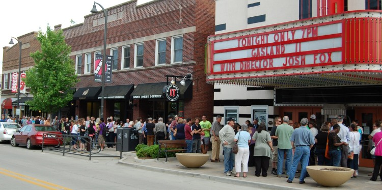 A line forms early outside the Normal Theater to see the premiere of Gasland Part 2, with a visit by Josh Fox.